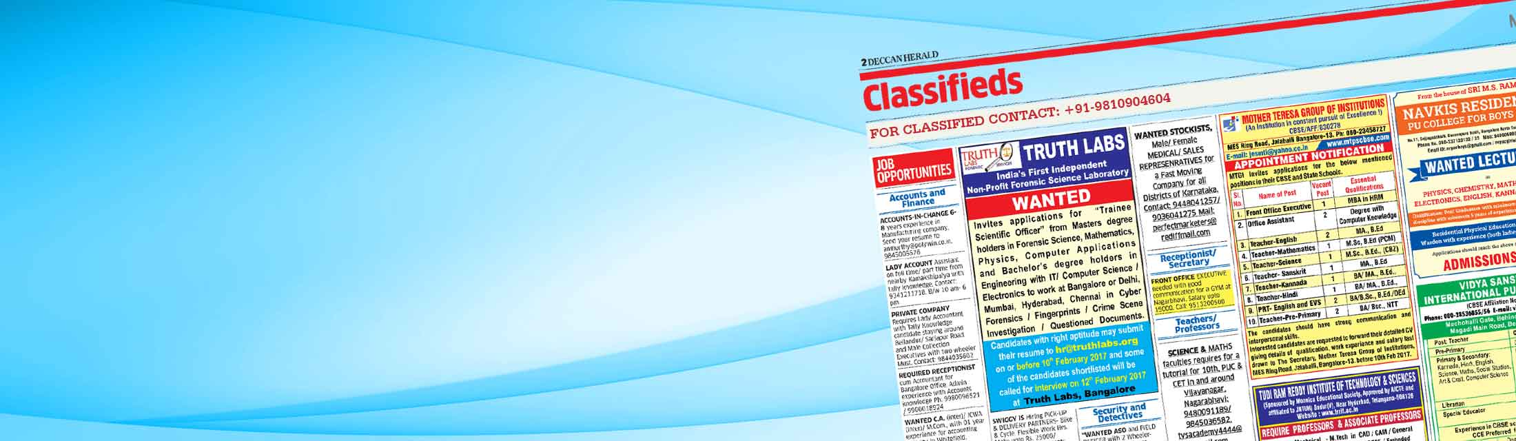 CLASIFIED Advertisement IN Deccan Herald